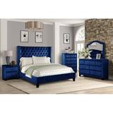 Rosdorf Park Aysel Upholstered Platform 4 Piece Bedroom Set Upholstered in Blue, Size Queen | Wayfair 2E385FEAD7874FFABEED9C61C8FE8297