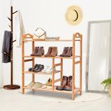 Red Barrel Studio® 4 Tiers Multifunction Bamboo Storage Shoe Rack Solid Wood in Brown/Green, Size 30.0 H x 27.0 W x 11.0 D in   Wayfair