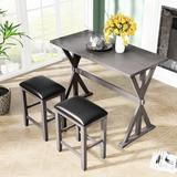 August Grove® 3 Pieces Counter Height Dining Table Set Wood/Upholstered Chairs in Gray, Size 36.0 H in | Wayfair 9DC2351B5D4D495F83F4E20850C0A20C