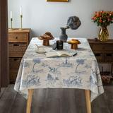 Canora Grey Rustic Tablecloth Classic French Village Printed Linen Fabric Table Cover Farmhouse Decoration Polyester in Blue/Gray/Yellow   Wayfair