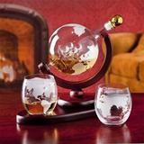 Latitude Run® Whiskey Decanter Globe Set w/ 2 Etched Globe Whisky Glasses - For Liquor, Scotch, Bourbon, Vodka - 850Ml Glass   Wayfair