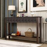 """Longshore Tides Entryway Console Table, 60"""" Long Sofa Table w/ Two Different Size Drawers & Bottom Shelf For Storage (Antique White) Wood in Black"""