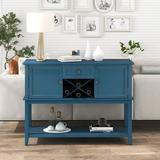 Longshore Tides Wooden Console Table w/ Wine Rack Open Shelf Storage Sideboard For Home Kitchen, Living Room, Dining Room (White) Wood in Blue
