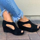 Anthropologie Shoes | Black Snakeskin Peep Toe Platform Wedge Bootie | Color: Black | Size: 6