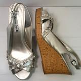 American Eagle Outfitters Shoes   American Eagle Ruffle Slingback Peep Toe Wedg   Color: Silver   Size: 9.5