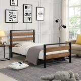 Latitude Run® Platform Bed Frame w/ Wooden Headboard & Metal Slats Twin Size Wood/Wood & Metal/Metal in Black/Brown, Size 39.4 W x 75.2 D in Wayfair