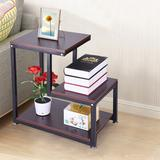 Ebern Designs Rustic End Table 3-Tier Chair Side Table Night Stand w/ Storage Shelf For Room Wood in Brown, Size 23.6 H x 23.6 W x 13.8 D in Wayfair