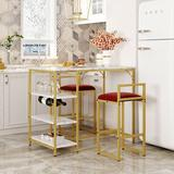 Orren Ellis 3-Piece Faux Marble Counter Height Bar Dining Table Set w/ Open Storage Shelves Wood/Upholstered Chairs in White/Yellow, Size 35.4 H in