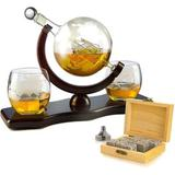 Red Barrel Studio® Decanter Set Globe w/ 2 Etched Globe Whisky Glasses - Comes w/ Whiskey Stones For Whiskey, Scotch, Bourbon 850Ml Glass   Wayfair