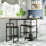 Orren Ellis 3-Piece Faux Marble Counter Height Bar Dining Table Set w/ Open Storage Shelves Wood/Upholstered Chairs in Black, Size 35.4 H in Wayfair