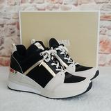 Michael Kors Shoes | New Michael Kors Georgie Lace Up Trainer Sneakers | Color: Black/Gold | Size: 10