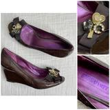 Coach Shoes   Coach Poppy Peep Toe Wedges Patent Brown Charms 8   Color: Brown/Purple   Size: 8