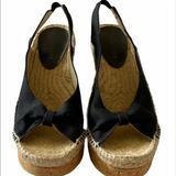 Nine West Shoes   Nwot Nine West Black Canvas Slingback Cork Wedge   Color: Black   Size: 7.5