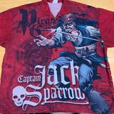 Disney Shirts   Disney Xxl Pirates Of The Caribbean Aop Shirt   Color: Black/Red   Size: Xxl