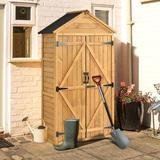 Moonvvin Outdoor Wood Lean To Storage Shed Tool Organizer w/ Waterproof Asphalt Roof Lockable Doors 3 Tier Shelves For Backyard in Brown   Wayfair