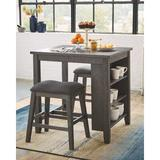 Gracie Oaks Jarrard Rect Drm 3 Piece Counter Height Dining Set Wood/Upholstered Chairs in Brown/Gray, Size 36.0 H x 30.0 W x 36.0 D in   Wayfair