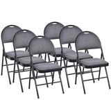 Inbox Zero 6 Pack Folding Chairs Portable Padded Office Kitchen Dining Chairs Upholstered/Fabric in Gray/Black, Size 35.0 H x 18.5 W x 20.0 D in