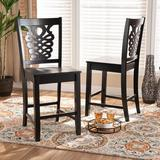 Red Barrel Studio® Padee Modern & Contemporary Transitional Two-Tone Dark & Walnut Finished Wood 2-Piece Counter Stool Set Wood in Brown | Wayfair