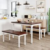 August Grove® Retro & Modern Style Kitchen Dining Table Set w/ 2 Benches in Brown/White, Size 30.0 H x 28.0 W x 47.0 D in | Wayfair