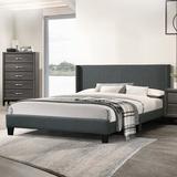 Wade Logan® Seekonk Upholstered Platform Bed Metal in Gray/White/Black, Size 74.0 W x 89.0 D in | Wayfair A48CBB939E2C452297793416DCF622BA