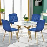 Everly Quinn 4pcs Dining Kitchen Chair Cushion Seat Back, Modern Mid Century Living Room Side Chairs Wood/Upholstered/Velvet/Fabric | Wayfair