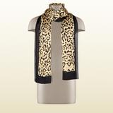 Gucci Accessories | Gucci Lightweight Animal Print Silk Stole Scarf | Color: Black/Tan | Size: Os
