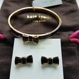 Kate Spade Jewelry | Kate Spade Take A Bow Black Bangle & Earrings, Nwt | Color: Black/Gold | Size: Os
