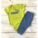 Puma Baby Boy 6-9m Outfit Green Blue Onesie Pants