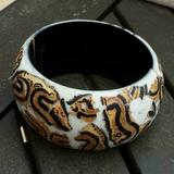 MAMA STYLE Handcrafted Black Brown White Luan Tree Wood Stretch Bangle Bracelet Philippines