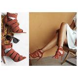 ZARA Braided Leather Suede Strappy Heel Sandals