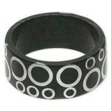 MAMA STYLE Mid Century Style Lucite Bangle Bracelet Black Silver Circles Pattern