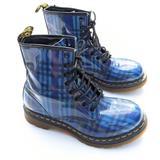 DOC MARTENS 1460 Blue Plaid Lace-up Combat Boots