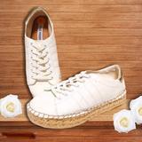 Steve Madden Sneakers Espadrille Platform White Leather Gold Tamilyn