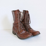 Mossimo Supply Brown Faux Leather Combat Boots 5.5