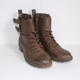 Forever 21 Brown Faux Leather Combat Boots 7.5
