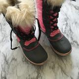 Sorel   Tofino pink lace up faux fur trim waterproof mid calf winter snow boots womens 5