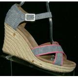 Toms 'Sienna' blue denim pink ankle strap espadrille platform wedges 8.5M