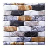 Ingzy Marble Decorative Wallpaper Three-Dimensional Tile Stickers PVC Wall Stickers Peel & Stick Splash-Proof 3D Wall Panel Vinyl/PVC in White