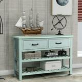 Rosecliff Heights Retro Console Table For Entryway w/ Drawers & Shelf Living Room Furniture (Antique ) Wood in Blue | Wayfair