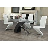 Orren Ellis Ivancho 4 - Person Dining Set Wood/Glass/Metal/Upholstered Chairs in Black/Brown/Gray, Size 30.0 H in | Wayfair