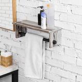 MyGift Bathroom Wall-Mounted Shelf Hanging Towel Rack in Black/Brown, Size 5.01 H x 16.04 W x 5.51 D in   Wayfair WAYBATH0263TOR