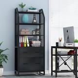 Inbox Zero Qualana 2-Drawer Vertical Filing Cabinet Wood in Black/Brown, Size 64.9606 H x 23.622 W x 15.748 D in | Wayfair