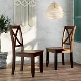Gracie Oaks 2-Piece X-Back Wood Breakfast Nook Dining Chairs Upholstered in Brown, Size 37.8 H x 17.3 W x 19.0 D in | Wayfair