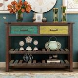 Bungalow Rose TREXM Retro Console Table For Entryway w/ Drawers & Shelf Living Room Furniture (Antique Blue) Wood in Green/Yellow/Brown | Wayfair