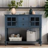 Dovecove Wooden Sideboard Console Table w/ Bottom Shelf,glass Buffet Storage Cabinet(antique Navy) Wood in Blue, Size 34.2 H x 42.0 W x 14.0 D in