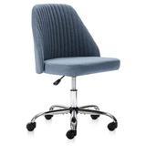 Latitude Run® Modern Twill Fabric Chair Adjustable Desk Chair Mid-back Task Chair Ergonomic Office Chair Upholstered in Green/Blue   Wayfair