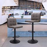 Latitude Run® Bar Stools Set Of 2 Counter Height, Swivel Barstools w/ Footrest & L Shape Thicken Cushion Back, Height Adjustable Modern Bar Chairs