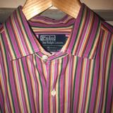 Polo By Ralph Lauren Shirts | New Mens Polo Colored Stripe Shirt, Size Large | Color: Purple/Red | Size: L