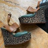 Nine West Shoes   Nine West Cheetah Print 2 Platform 5 Wedge Heels   Color: Green/Tan   Size: 7