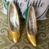 Gucci Shoes | Gucci Leather & Snakeskin Pumps | Color: Gold/Green | Size: 37eu